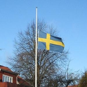 Sweden's flag at half mast